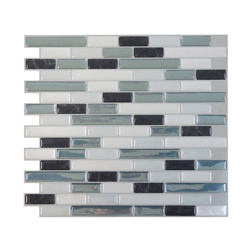 Smart Tiles Mosaik High-Gloss Mosaic in Gray & Blue (Set of 6)