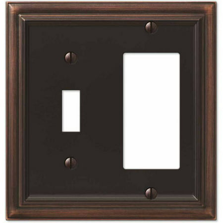 Continental Aged Bronze Cast Single Toggle/Single Rocker Wallplate