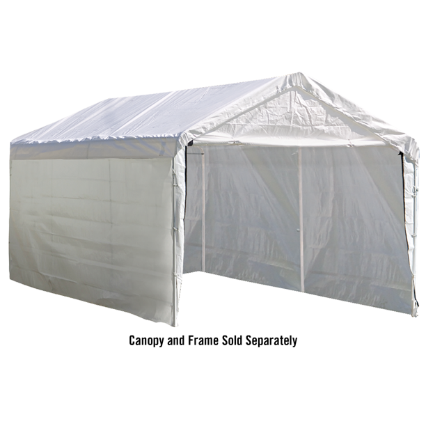 ShelterLogic Canopy Enclosure Kit for Super Max, 12 x 20 ft, White, Waterproof and Durable Outdoor Canopy Enclosure