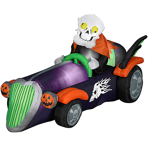 Gemmy 4'H x 7.5'L Airblown Halloween Inflatable Skelly Racer