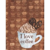 I Love Coffee : Low Vision Paper Notebook / Journal With Bold Thick Lines And White Paper, Large Pages Perfect For Visually Impaired