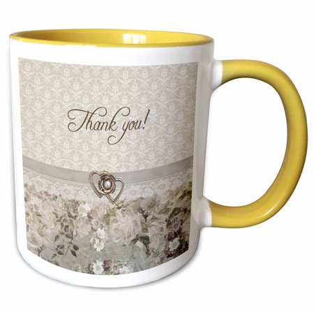 3dRose Gold Heart, Pearl Look, Ribbon, Lace, Rose, Thank you, Faded Pink - Two Tone Yellow Mug, 11-ounce