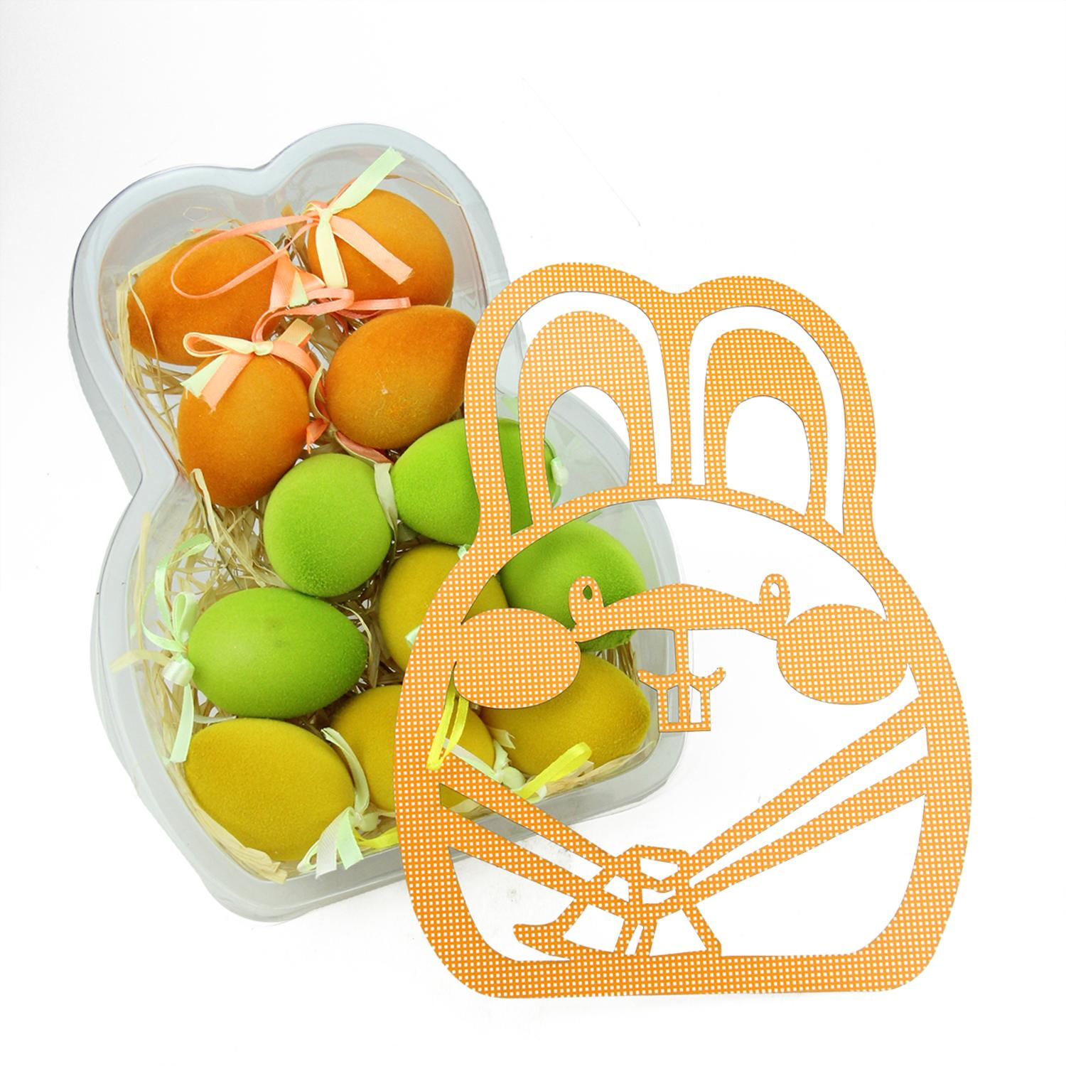 """Set of 12 Orange Green and Yellow Spring Easter Egg Ornaments 2.5"""""""