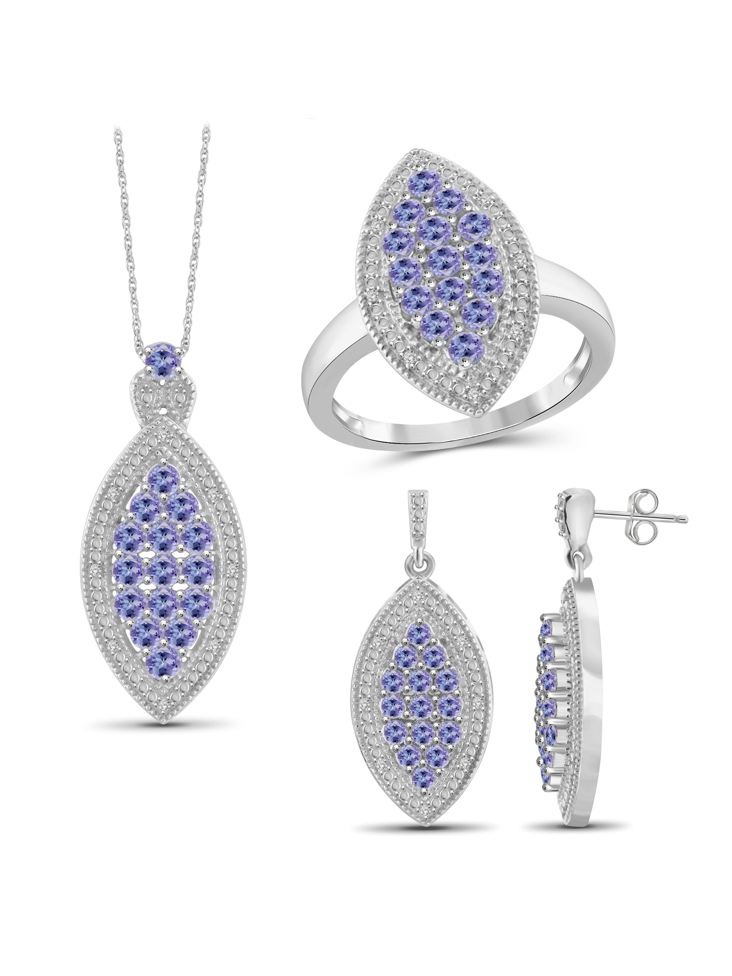 JewelersClub 3.00 Carat T.G.W. Tanzanite And White Diamond Accent Sterling Silver 3-Piece Marquise Jewelry set by JewelersClub