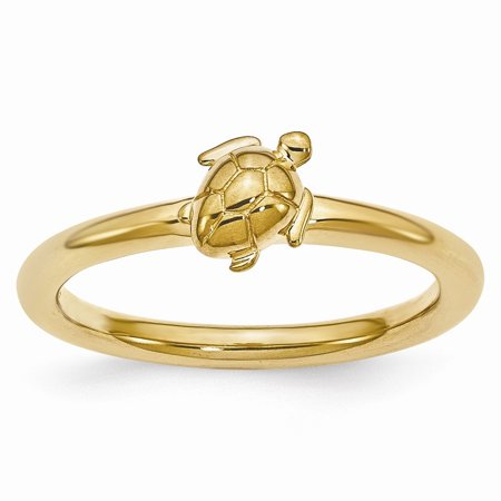 Silver Tone Turtle (Gold Tone Plated Sterling Silver Stackable 8mm Sea Turtle Ring )