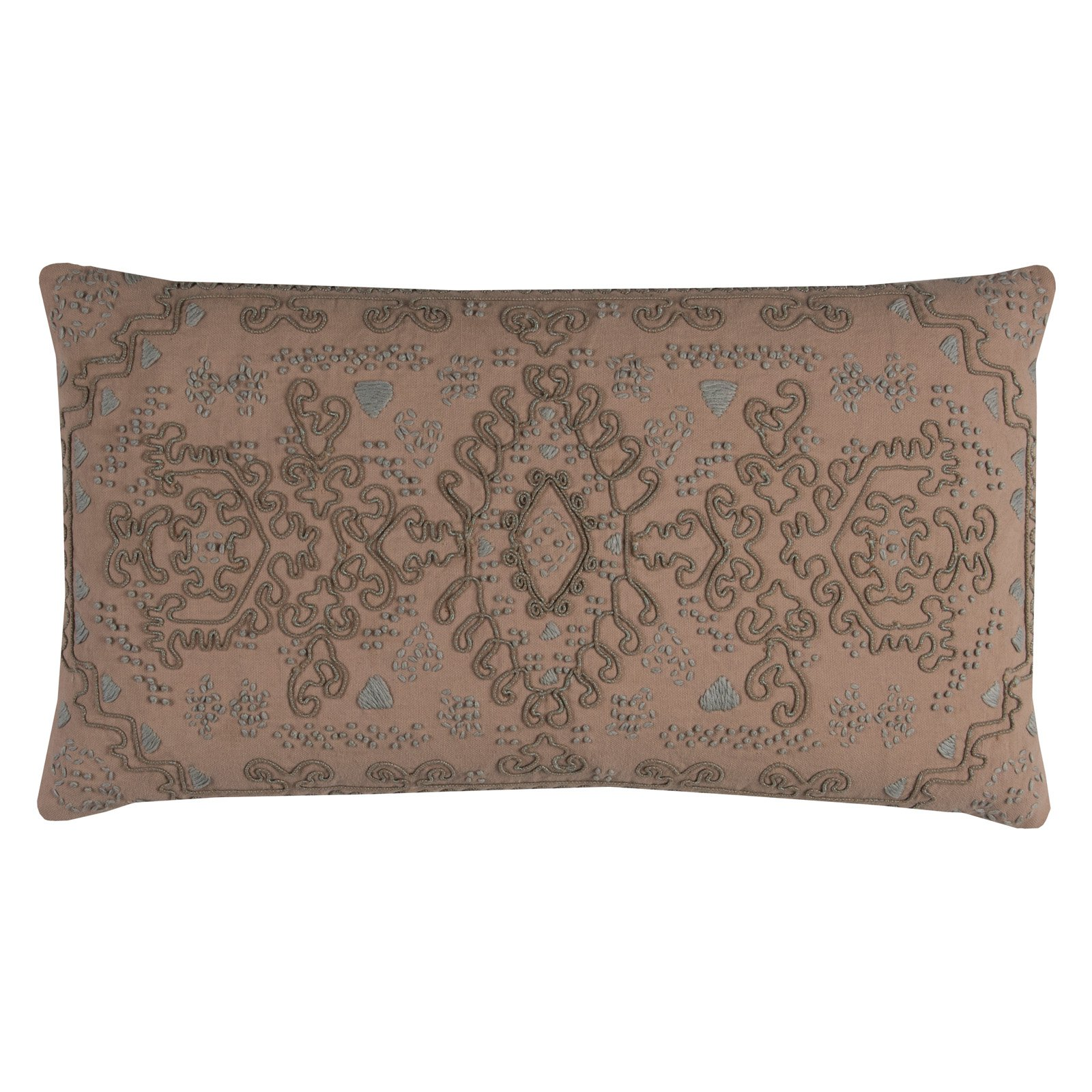 "Rizzy Home Decorative Poly Filled Throw Pillow Medallion 11""X21"" Dark Blush"
