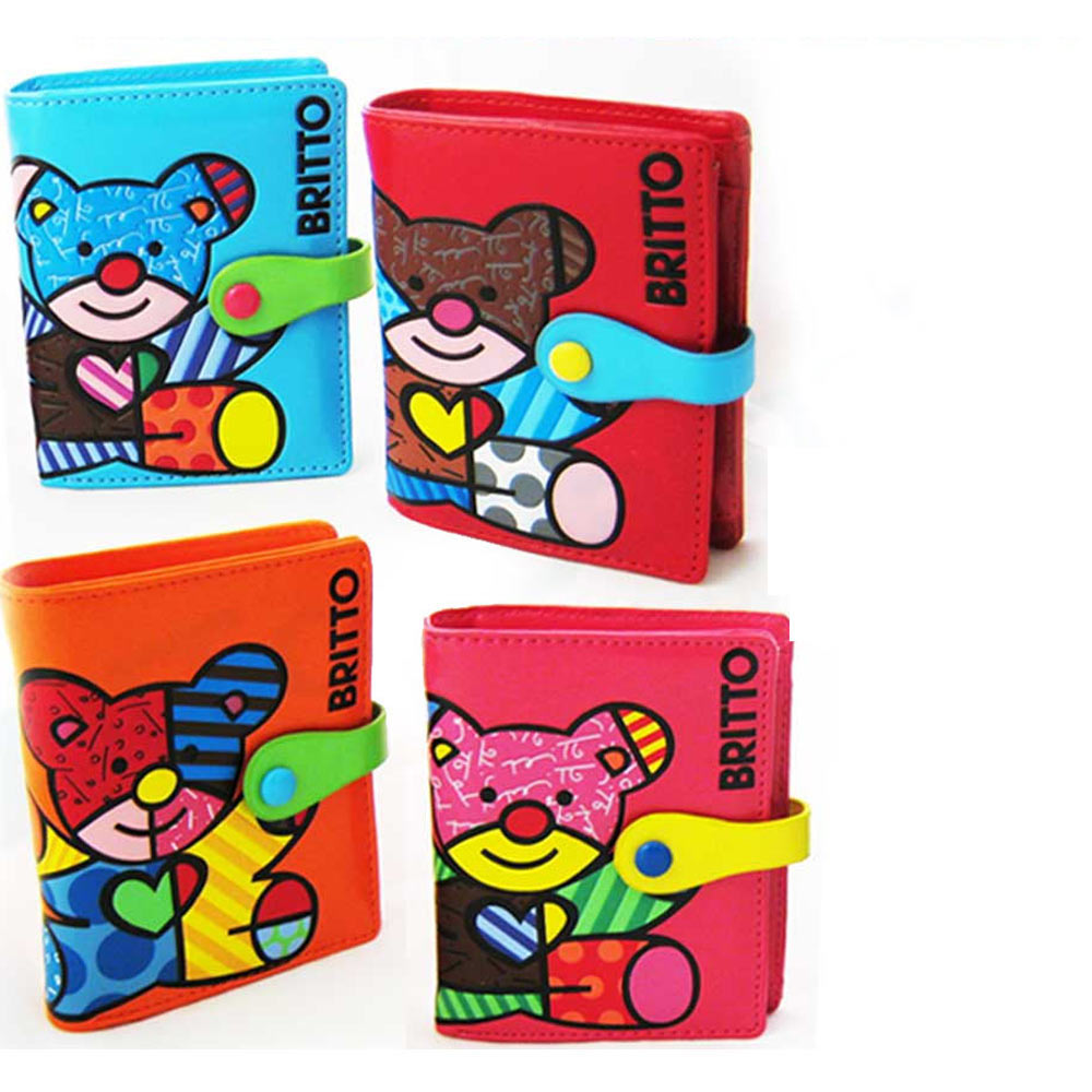 Romero Britto Bear Small Wallet Leather New Purse Credit Card Pink Red Blue Bag
