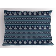 Nordic Pillow Sham Snowman Pattern Geometric Angled Lines Chevron Zigzag Knitting Design, Decorative Standard Queen Size Printed Pillowcase, 30 X 20 Inches, Dark Blue Turquoise White, by Ambesonne