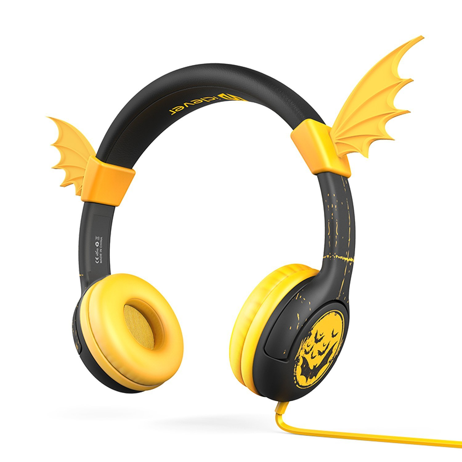 iClever Kids Headphones Silicone Wing Wired Bat Wing Over the Ear Headsets, Yellow