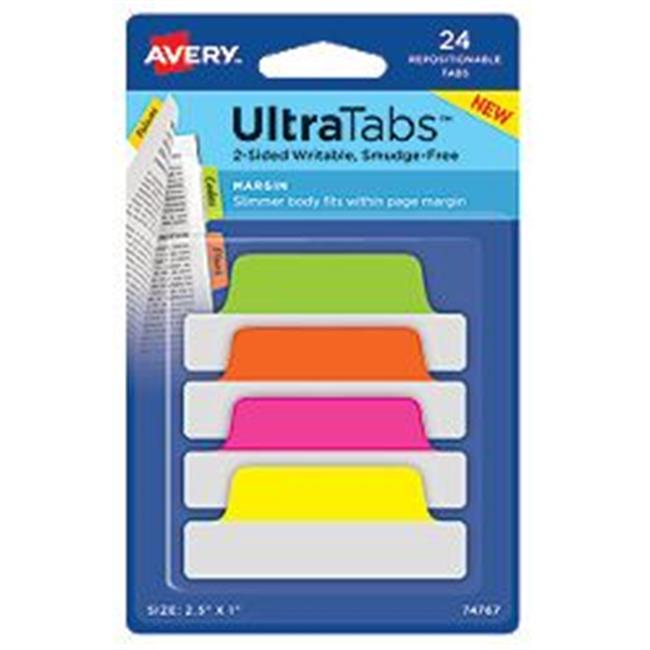 Avery-Dennison 74767 Ultra Tabs Repositionable Tabs, Green, Orange, Pink & Yellow - 2. 5 x 1 inch