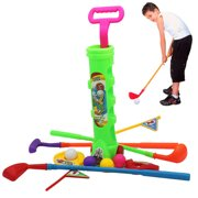 12PCS Kids Golf Toy Set Portable Golf Game Toy Golf Club Set for Indoor Outdoor