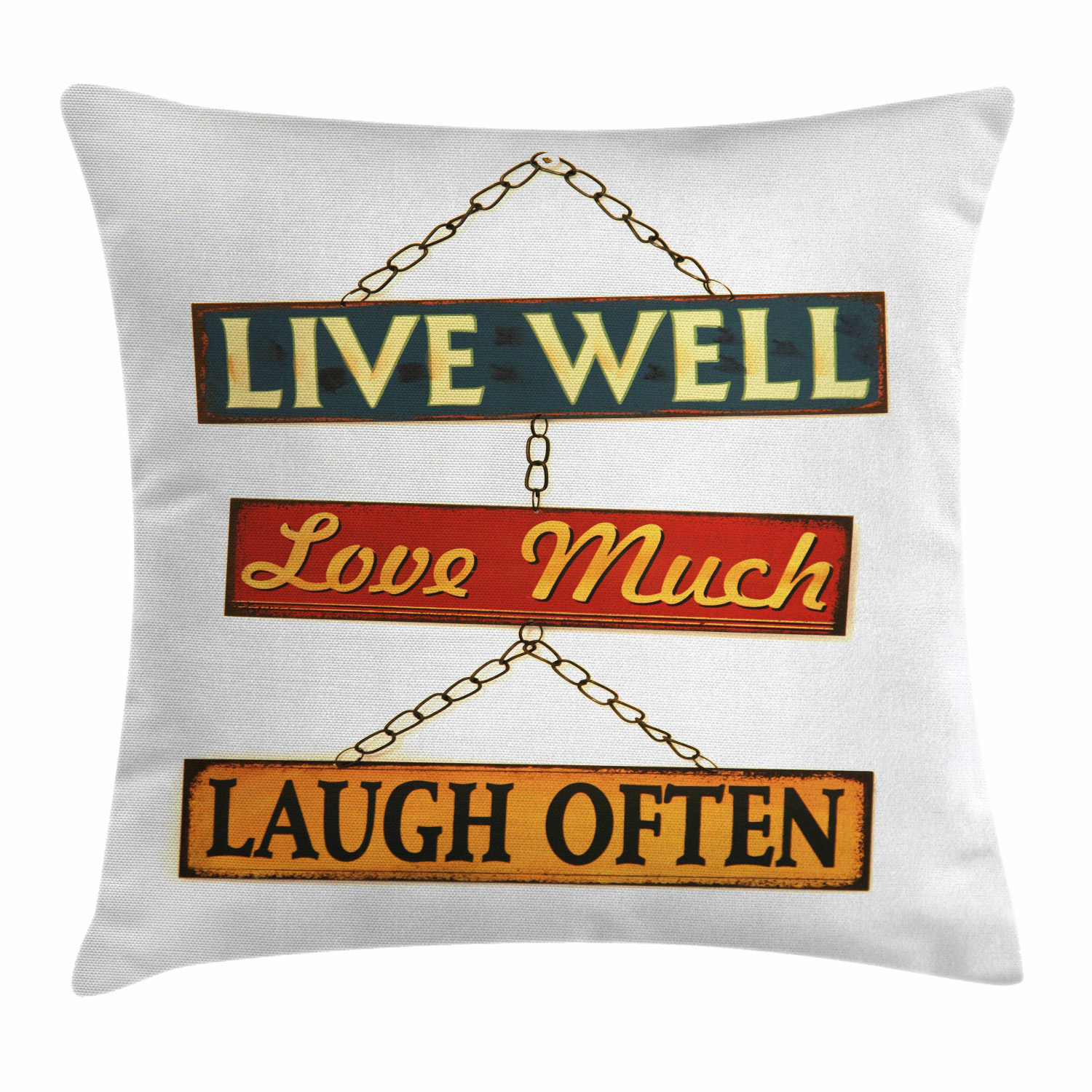 Live Laugh Love Decor Throw Pillow Cushion Cover Live Well Love Much Laugh Often Rusty Signs Tied With Chains Print Decorative Square Accent Pillow Case 16 X 16 Inches Multicolor By Ambesonne,Country Farmhouse Kitchen Lighting Ideas