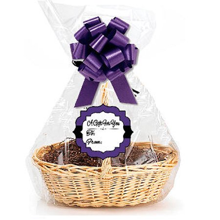 Packaging Tags (Purple 2Pack Designer Cello Bags / Tags / Bows Cellophane Jumbo Gift Basket Packaging Bags Flat 30