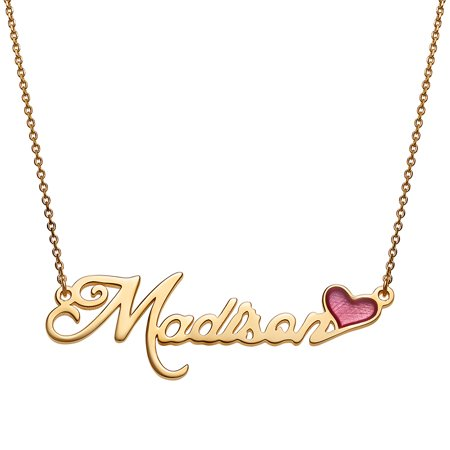 Personalized Women's Sterling Silver or Gold over Sterling Name with Pink Enamel Heart Necklace