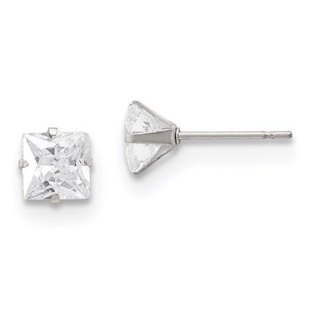 Stainless Steel Polished 6mm Square CZ Stud Post Earrings 6 Mm Square Stud
