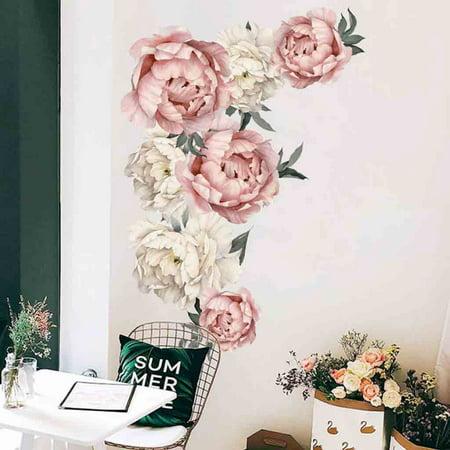 Peony Rose Flowers Wall Sticker Art Nursery Decals Kids Room Home Decor