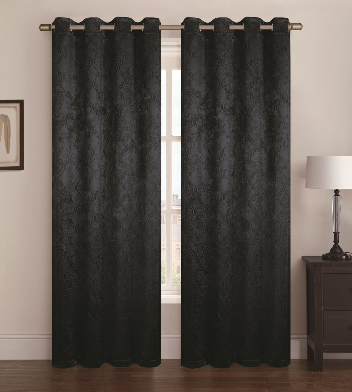 "Single Geometric Jacquard Blackout - Room Darkening Window Curtain Panel with Grommets, Paige, 53""x84"" (Black)"