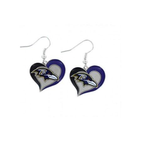 Aminco Nfl Baltimore Ravens 3 4 Swirl Heart Earrings Dangle Charm Team Logo W