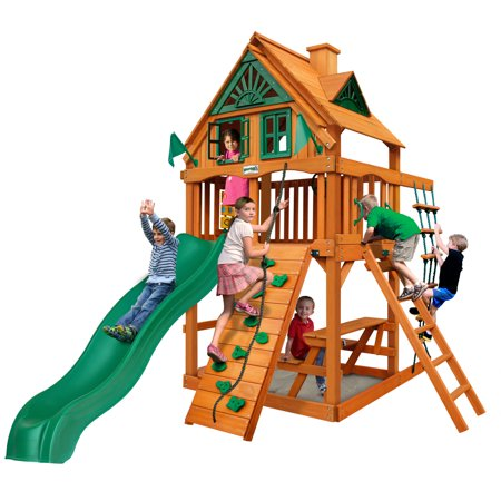 Gorilla Playsets Chateau Tower Treehouse Wooden Playset with Rock Climbing Wall and Built-in Picnic Table