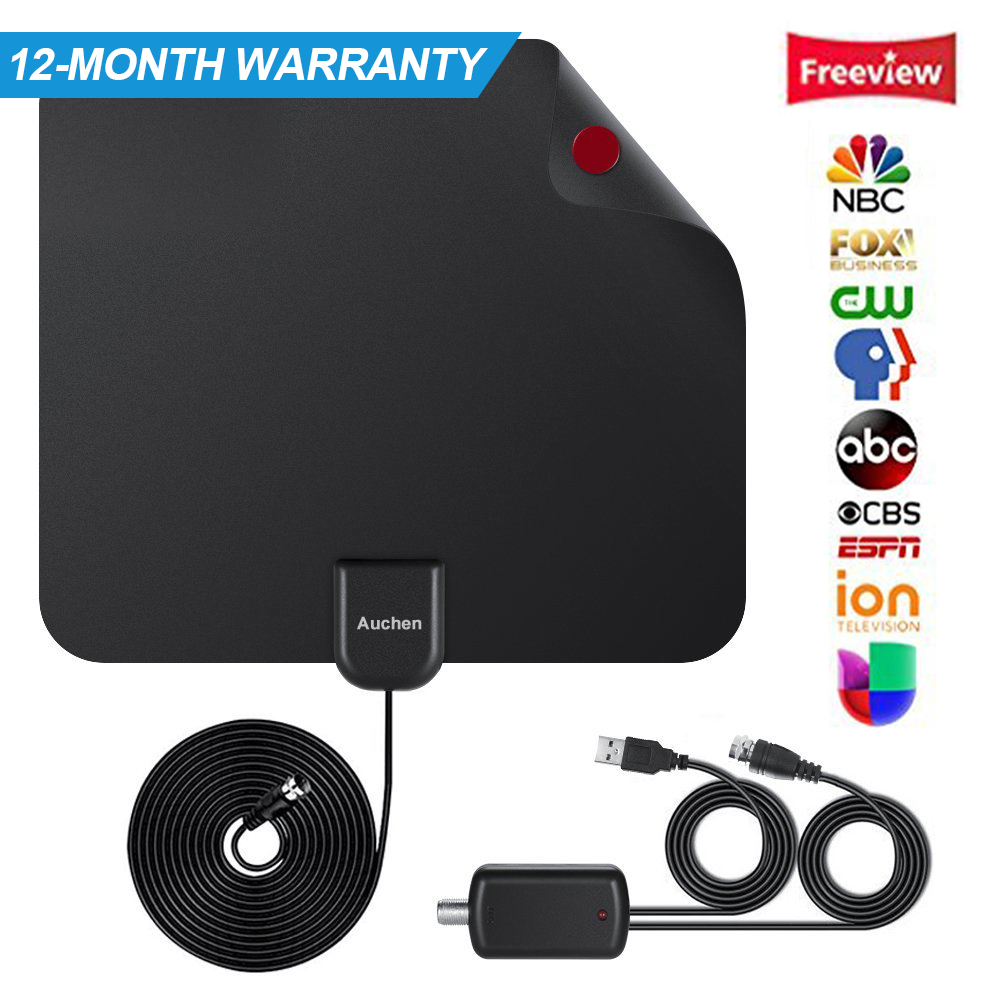 Digital TV Antenna, 110 mile Range, 4K HD VHF UHF Freeview for Life Local Channels Broadcast for All Types of Home Smart Television, Never Pay Cable Fee (2018 Upgraded)
