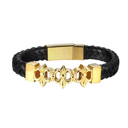 - Saints Design Bracelet Braided Leather Rope Gold Tone Over Stainless Steel Hip Hop