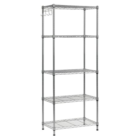 5 Tier Wire Shelving with Hooks in Silver