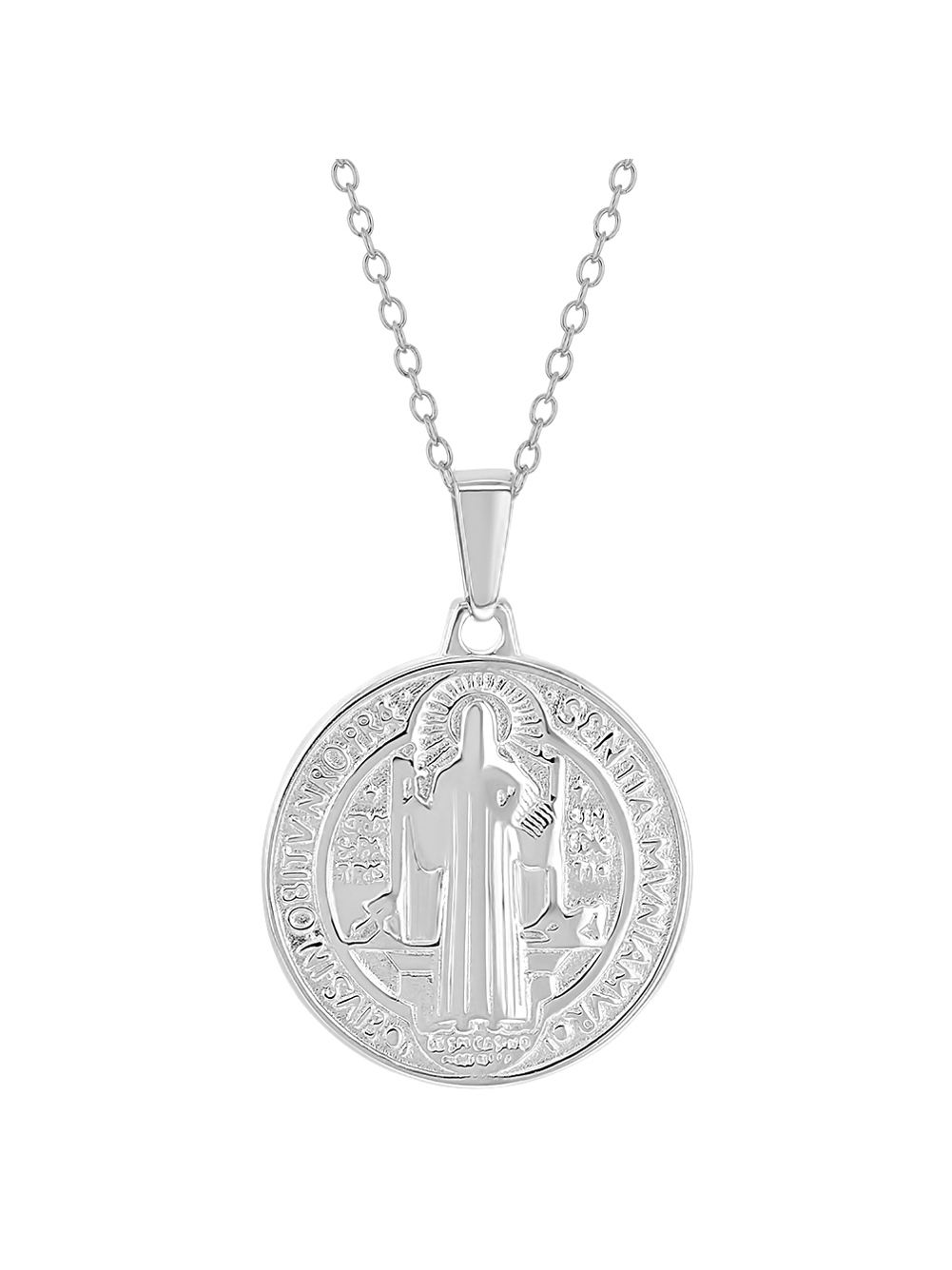 Black ball chain necklace with Saint Benedict pendant Catholic chain necklace. Saint Benedict chain Necklace Saint Benedict Necklace