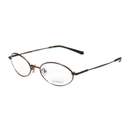 New Vera Wang V03 Womens/Ladies Oval Full-Rim Brown Classic Design Made In Italy Frame Demo Lenses 48-18-133 Eyeglasses/Glasses 1013 Eyeglasses Brown Frame