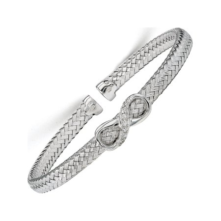 Sterling Silver CZ Infinity tiss? Cuff Bracelet de Leslie - image 2 de 2