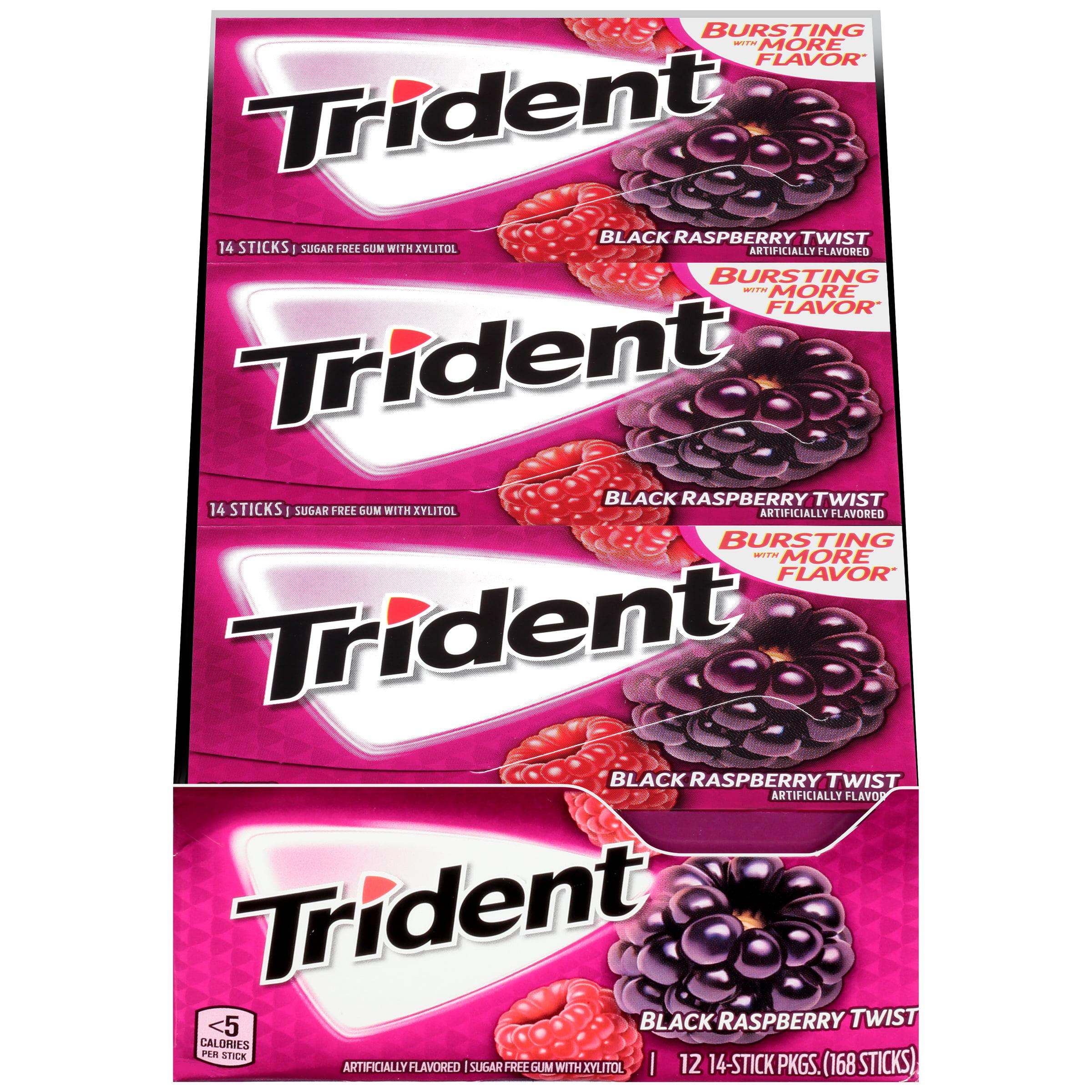 Trident, Sugar Free Black Raspberry Twist Chewing Gum, 14 Pcs, 12 Ct