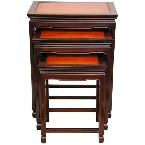 3 Pc 2-Tone Rosewood Nesting Tables