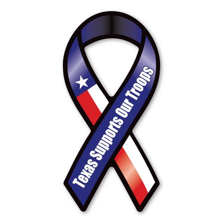 Mighty Mini Magnet - Texas Supports Our Troops Mini Ribbon Magnet