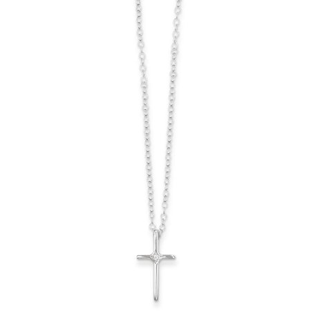 14kt White Gold .01ct Diamond Cross Religious Chain Necklace Pendant Charm Latin Crucifix Kid Fine Jewelry Ideal Gifts For Women Gift Set From Heart