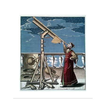 17Th Century Engraving of Astronomer Looking at Stars with Telescope Print  Wall Art