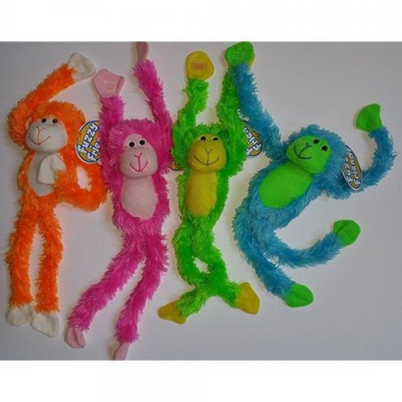Bundle: 4 Items- 1 of Each Color Bright Pink Green Blue and Orange Fuzzy Friends Plush Monkey with Velcro Hands 19.5 (Orange Monkey)