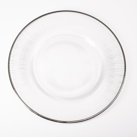 Richland Glass Charger Plate Silver Rim 13