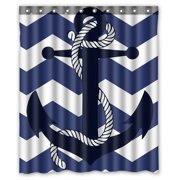 GCKG Amazing Chevron Anchor With Navy Blue Chevron Bathroom Shower Curtain, Shower Rings Included 100% Polyester Waterproof Shower Curtain 60x72 inches