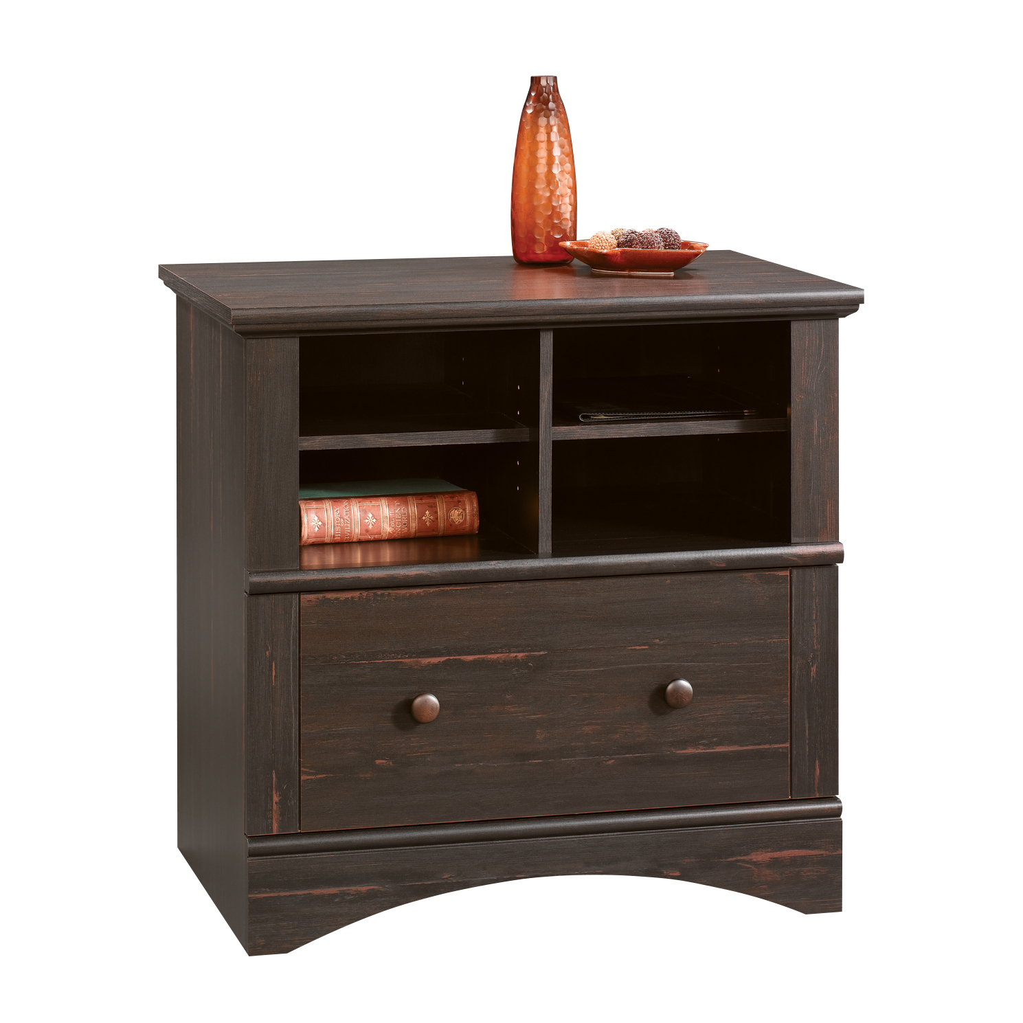 Sauder Harbor View Lateral File with Lock, Antiqued Paint Finish