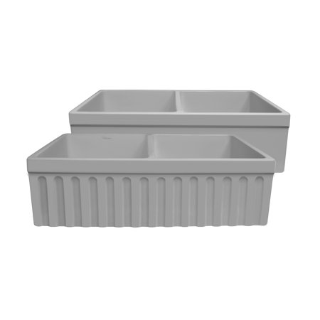 Farmhaus Quatro Alcove Reversible Matte Double Bowl Fireclay Kitchen Sink with Fluted 2