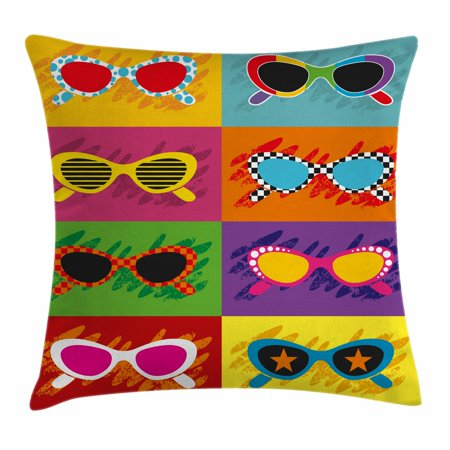 70s Party Decorations Throw Pillow Cushion Cover, Pop Art Style Sunglasses Vibrant Colorful Combination Summer Fun, Decorative Square Accent Pillow Case, 18 X 18 Inches, Multicolor, by Ambesonne - 70s Decorating Style
