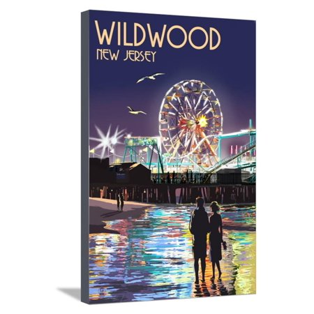 Ride Print Jersey - Wildwood, New Jersey - Pier and Rides at Night Stretched Canvas Print Wall Art By Lantern Press