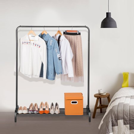 LANGRIA Simple All-Metal Free Standing Commercial Grade Clothing Garment Rack with Top Rod and Lower Storage Shelf for Boxes Shoes Boots, white