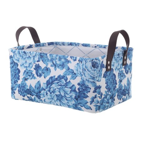 Pioneer Woman Medium Blue Floral Canvas Basket, Set of 2