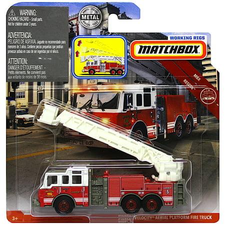 Rig Vehicle - Matchbox Fire Truck Working Rigs Pierce Velocity Aerial Platform Diecast Vehicle