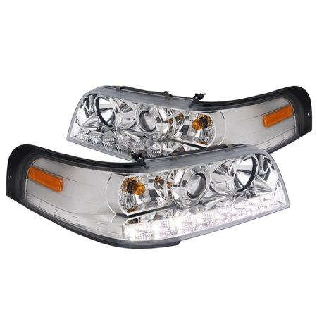 Spec-D Tuning 1998-2011 Ford Crown Victoria Smd Led Projector Headlights Head Lamps 1999 2000 2001 2002 2003 2004 2005 2006 2007 2008 2009 2010 2011 (Left + -