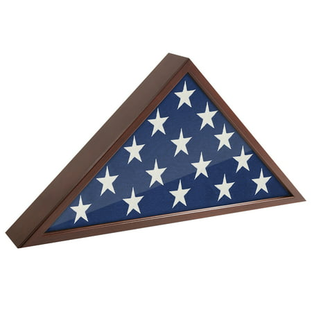 Flag Case Frame - Display Case for 5x9.5' Flag with Mahogany Finish