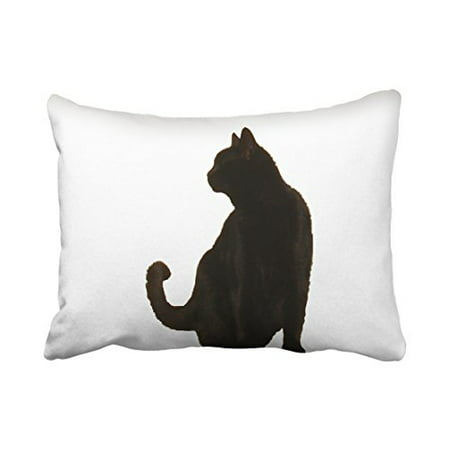 WinHome Vintage Fashion Halloween Black Cat Silhouette Art Polyester 20 x 30 Inch Rectangle Throw Pillow Covers With Hidden Zipper Home Sofa Cushion Decorative Pillowcases - Halloween Silhouettes Art Project