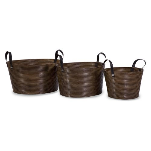 Oval Wrapped Rattan Baskets - Set of 3