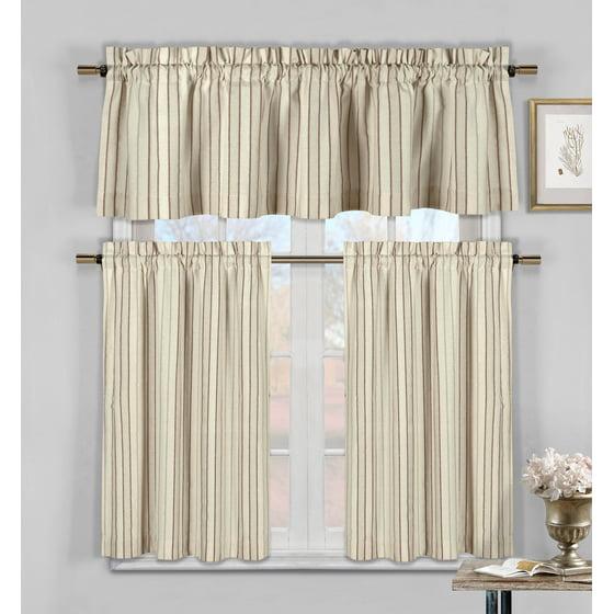 Hamilton 3 Piece Kitchen Curtain Set Available In 4: Burgundy, Taupe And Beige Three Piece Cotton Rich Kitchen