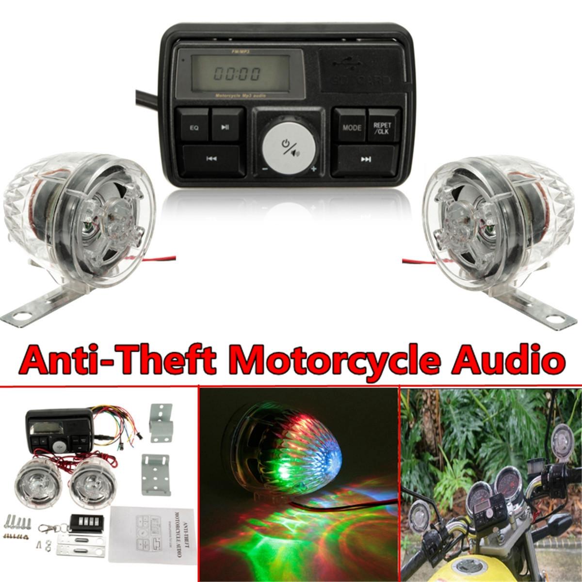 Mini MP3 Audio Radio Stereo System Motorcycle Anti Theft Speaker Sound FM USB